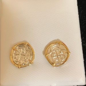Jewelry - Beautiful Atocha silver coin studs in gold bezel